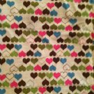 Sewing Fabric Pink/Blue/Brown/Green Hearts Design Lightweight Cotton  1.5 yard