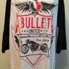 XG Premium Quality Mens White/Black Bullet Motorcycle 3/4 Sleeve Shirt BNWT