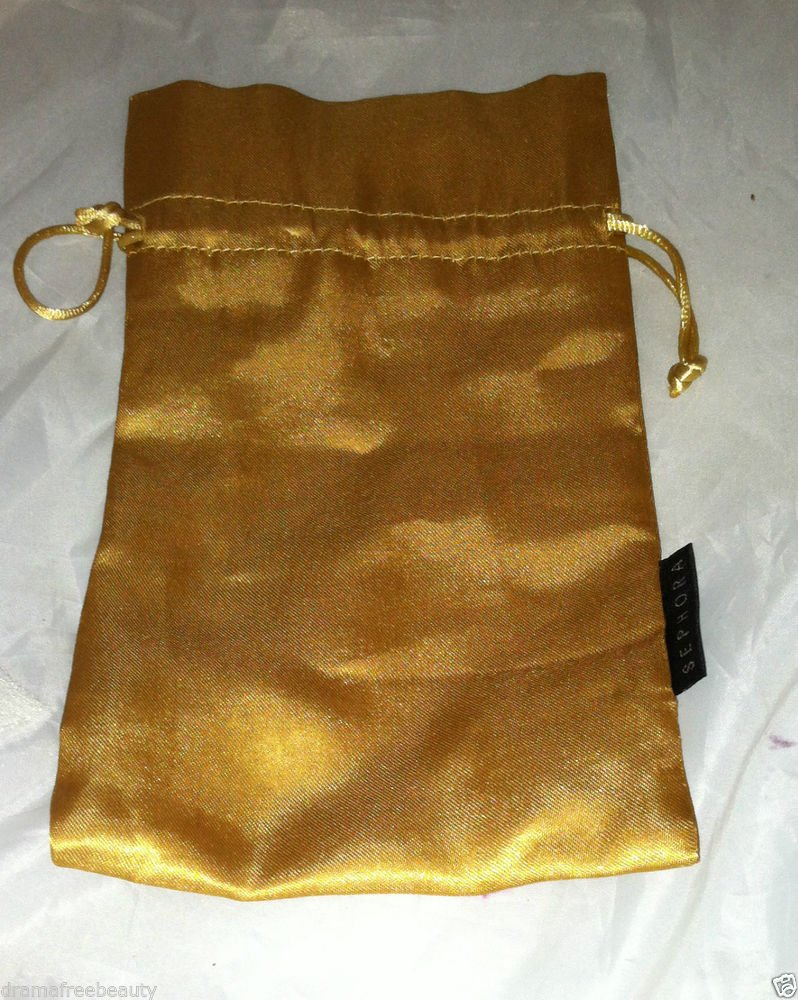SEPHORA Golden Cosmetic / Makeup Carrying /Bag /Pouch Silky Feel  8 X 12