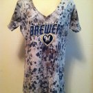 Milwaukee Brewers Womens Large V-Neck Tie Dye T-Shirt/Tee BNWT Genuine Merch. BN