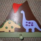 *VOLCANO & Bronto/Stego DINOSAURS* Boys/Girls Room Handcrafted Wall Pegged Rack