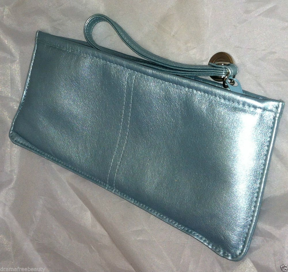 Gloss Cosmetic/Makeup Bag with Carrying Strap Metallic Light Silver Baby Blue BN
