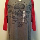 XG Premium Quality Mens Large Light Charcoal Gray w/Red 3/4 Sleeve Shirt BNWT