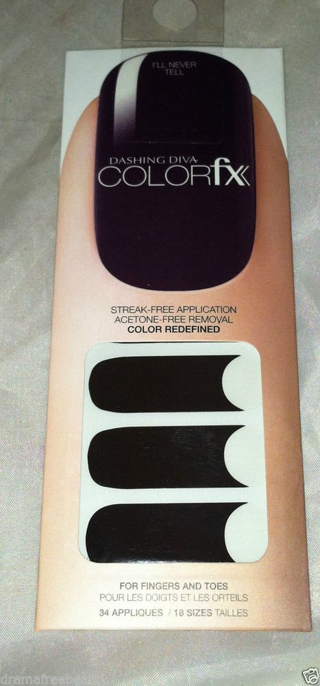 Dashing Diva Color FX Nail Appliques/Stickers *I'll NEVER TELL* Deep Dark Purple