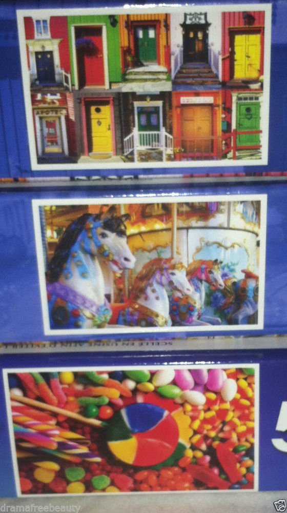 3 Puzzlebug 500 pc Puzzle Lot * CANDY COLORED HORSES/CANDY FUN/COLORFUL DOORS *