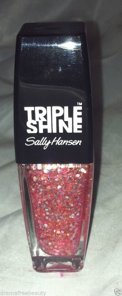 Sally Hansen Triple Shine * 310 TWINKLED PINK * Sheer Pink w/Rose Gold Hex Micro