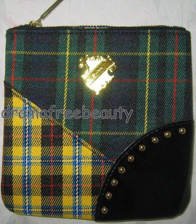 MAC Tartan Tale Green/Yellow/Black Plaid Gold Crest Zippered Cosmetic Bag Pouch