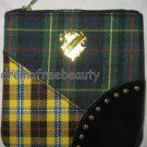 MAC Tartan Tale Green/Yellow/Black Plaid Gold Crest Zippered Cosmetic Bag Pouch