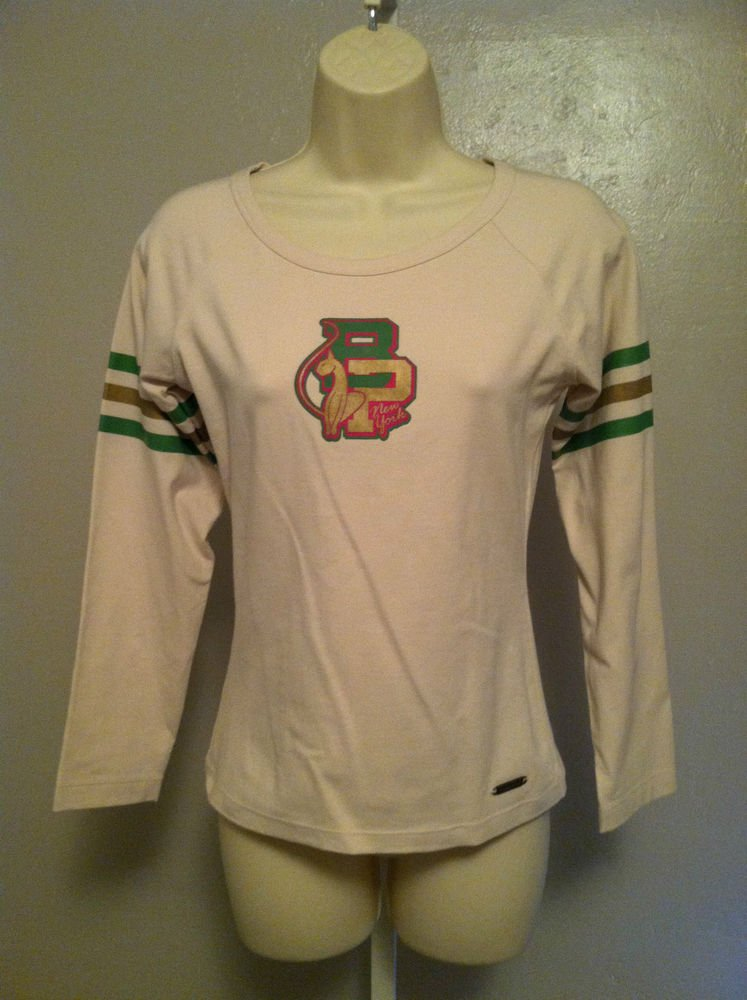 BABY PHAT Juniors Size Medium Stretch Baseball Jersey Shirt Pink/Green/Gold Long
