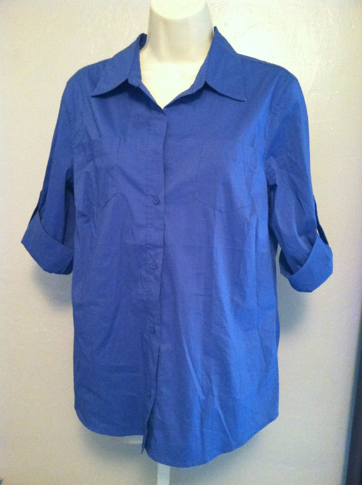Old Navy Womens Large Blue Blouse Roll-Cuff Perfit Fit Stretch New With Tags