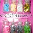 BN Donna Michelle NAIL ART 8 Mini Bottles *Holographic Stars, Hearts, Hexagons*
