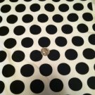 """Solid White  with Black Polka Dots Sewing / Craft Fabric 60"""" X 38""""  100% Cotton"""