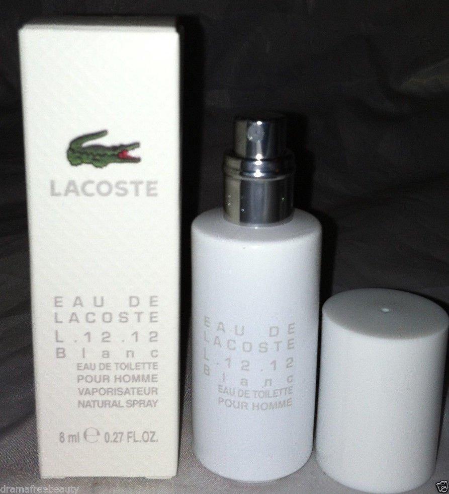 Lacoste Eau de Toilette Homme L.12.12 White BLANC .27 oz. Spray Travel Mini BNIB