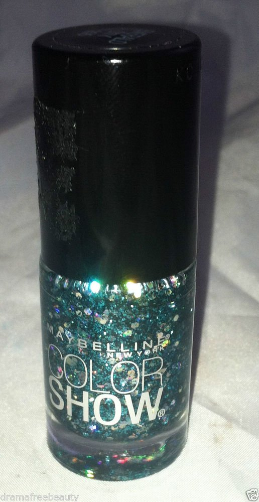 Maybelline Nail polish Color Show * 255 EMERALD CITY * Clear Base Teal Glitter