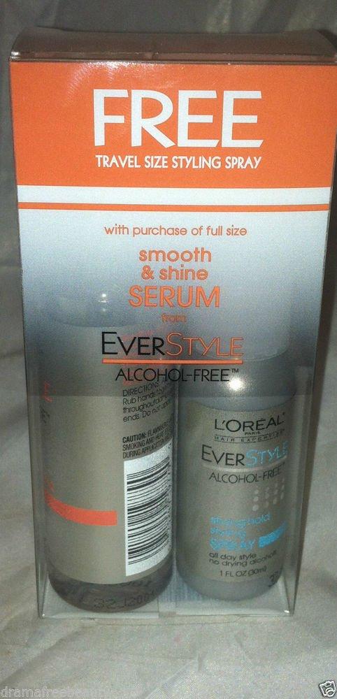 L'Oreal Smooth & Shine Serum + Strong Hold Styling Spray 2pc Travel Lot BNIB