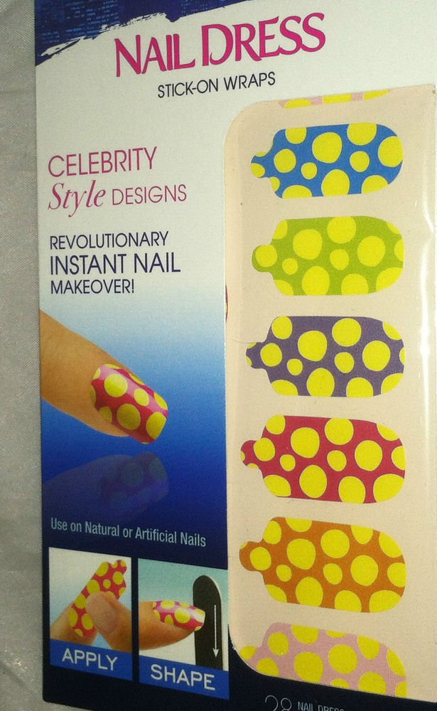 Broadway Nails Nail Dress 28 Stick-On Polish Wraps *POLKA DOTS*  Design BNIB