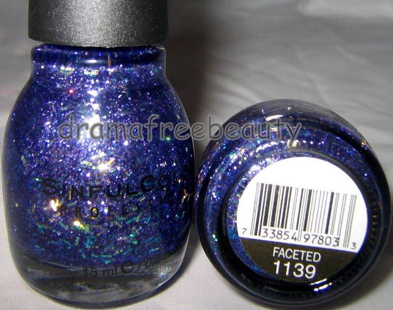 BN Sinful Colors Nail Polish *FACETED* Purple Micro& Iridescent Confetti Glitter