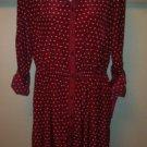 Xhilaration Womens Shirt Dress Burgundy Red White Polka Dots *Size Large L* BNWT