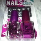 L.A. Colors Nail Polish & Stencil Set * HOT & FLASHY * Base & Glitter Top Coat