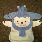 Fall/ Holiday White Bear 0-6 Months Fleece Bunting Suit Hooded w/Ears Light Blue