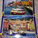 2 Puzzlebug 500 Pieces *COLORFUL HOUSES & BOATS WATER DOCK* Puzzle Lot Sealed BN