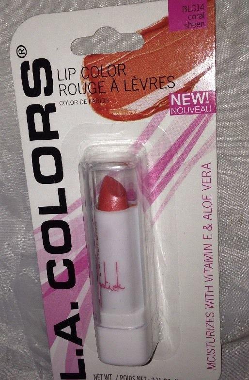 L.A. Colors Lip Color Moisture Lipstick BLC14 * CORAL SHEEN * w/Vitamin E & Aloe
