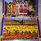 2 Puzzlebug 500 pcs Puzzle Lot *OLD TOWN HAMBURG GERMANY & TULIPS FLOWERS* New