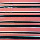 Pink/Salmon/White/Black Striped Stripes Sewing Fabric Stretch Cotton 2yd X 60""