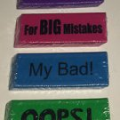 Jumbo/Giant Novelty Erasers 4pc Lot *OPPS/NOT AGAIN/FOR BIG MISTAKES/MY BAD* New