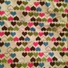 """Beige/White Pink/Blue/Brown/Green HEARTS Lightweight Stretch Cotton 1.5yd 67X62"""""""