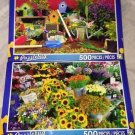 2 Puzzlebug 500 Pieces *GARDEN TOOLS & GERMAN FLOWER MARKET* Puzzle Lot Sealed