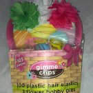 Gimme 103pc Clips Plastic Hair Elastics & Flower Bobby Pins Green/White/Hot Pink