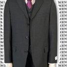 Men's 3 Piece Charcoal Gray Vested Suit Super 120's Wool 3 Button Suit