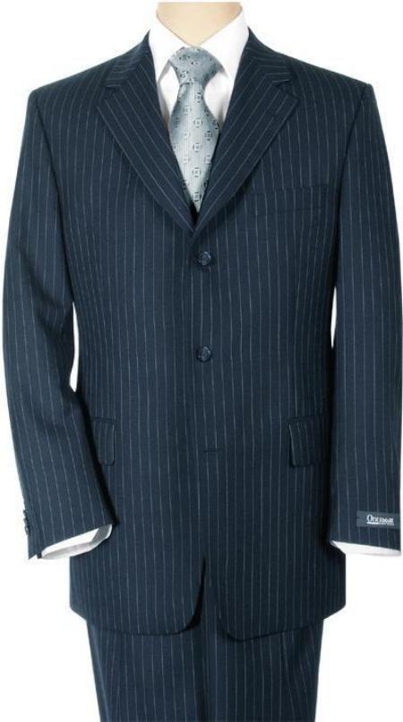 Conservative Navy Blue Pinstripe premeier quality italian fabric Super 150's Wool