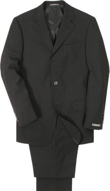 Men's Super 100 Wool Solid BLack 3 Buttons Mens Suit