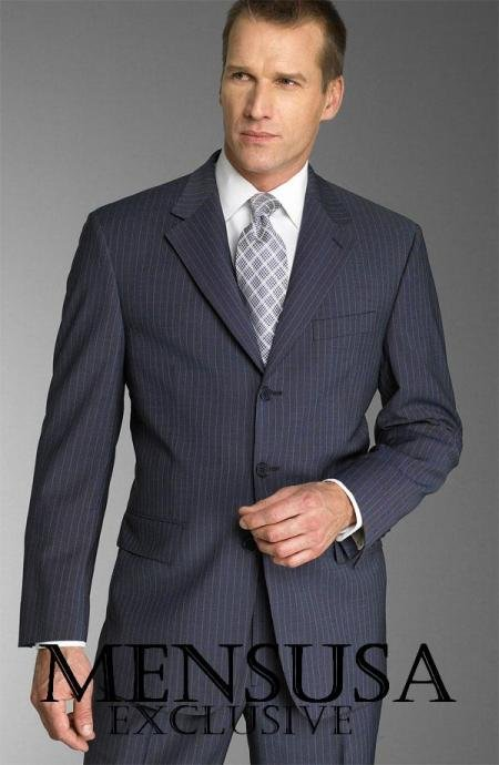 Dark Navy With Small Pinstripe Super 150's Wool premeier quality italian fabric Suit