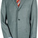 3 Buttons premeier quality italian fabric Mens 3 Buttons Light Gray Pinstripe Super 150's Wool