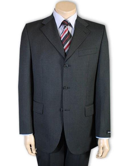 Men's Darkest Charcoal Gray 1 Pure Wool. (SUPER 120) 3-button, no vent