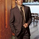 Super 140 Wool 3-Button Brown Pinstripe premeier quality italian fabric Suit