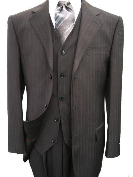 3 piece Black Pinstripe Men's Vested 3 Buttons Dress Suits Super 120's