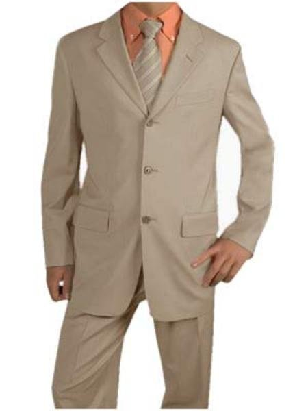 Men's Light Tan Suit Poly Blend Summer Suits  For more info : Check out www.mensusa.com