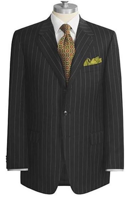 UMO Collezion Super 150's Black Chalk Pinstripe Marino Wool premeier quality italian fabric Design