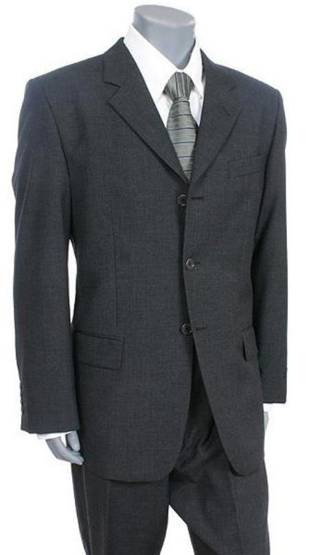 Tesory Italian Design, premeier quality italian fabric Charcoal Gray 3 Button suit Super 150 Vented