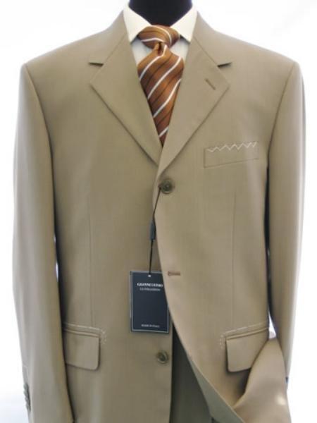 Dark Tan Super 150's Wool & Cashmere 3-Button Light Men's Suits