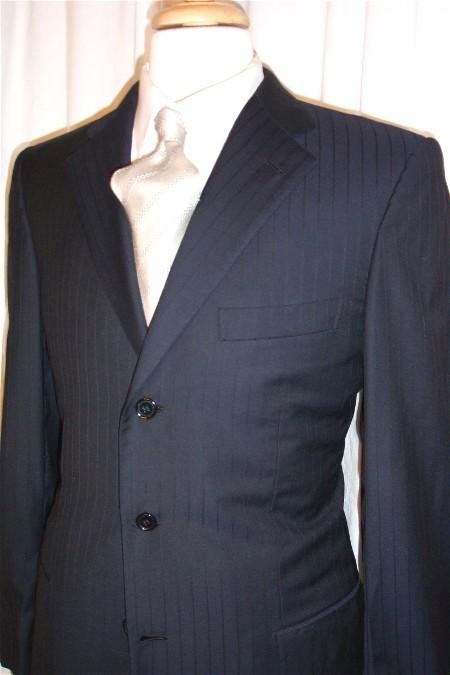 Navy Shadow 3 Buttons Pinstripe Super 150's Wool Suits