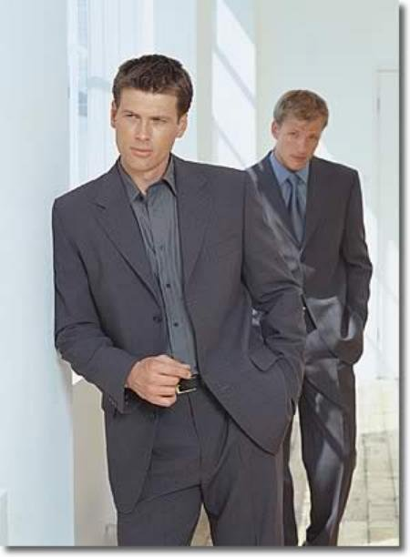 Mixture of Blue + Dark Gray Wool blend 3 Button Suit