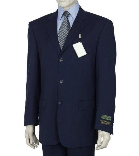 3 Button Dark Navy Blue Men's Suit HIGH GRADE Super 150's Wool Made In Spain