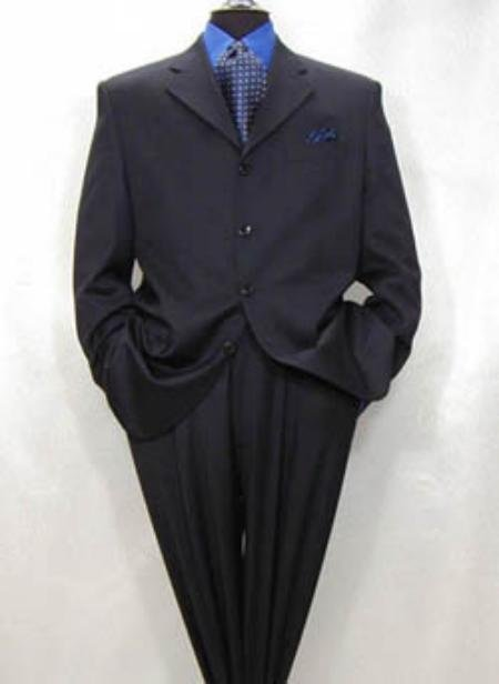 Men's 4-Button Dark Navy Blue Super Fine Pleated Pants Suit No Vent
