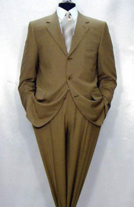 Men's Luxurious High End 3-Button Super 150's Wool Camel premeier quality italian fabric Suit