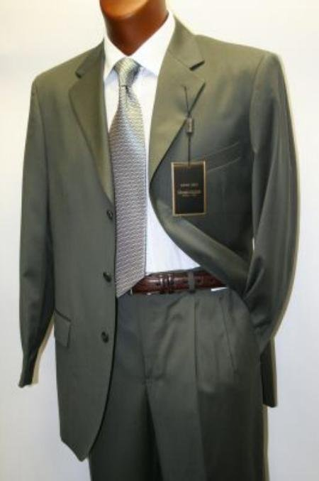 Solid Olive Green Business Suit Super 120's Wool